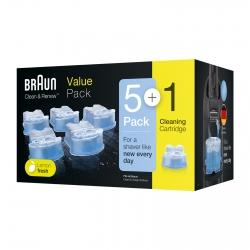 Braun Clean & Renew Cartucce di Ricambio per Stazione di Pulizia Rasoi Elettrici al Profumo di Limone - Confezione da 6