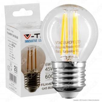 V-Tac VT-2366 Lampadina LED E27 6W MiniGlobo G45 Filament - SKU 2843