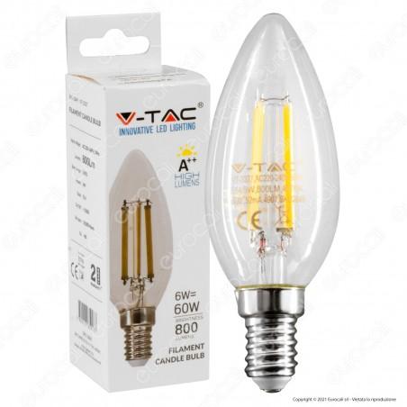 V-Tac VT-2327 Lampadina LED E14 6W Candela Filament - SKU 2848 / 2849