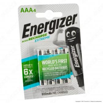 Energizer Accu Recharge Extreme 800mAh Pile Ricaricabili Ministilo AAA - Blister 4 Batterie