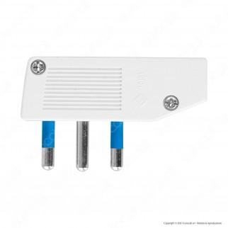 Ecova Spina Singola 16A Salvaspazio Reversibile con Uscita Cavo a 90° Colore Bianco - mod. 83010
