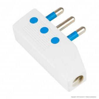 Max8 Spina Singola 16A Salvaspazio Reversibile con Uscita Cavo a 90° Colore Bianco - mod. 83010