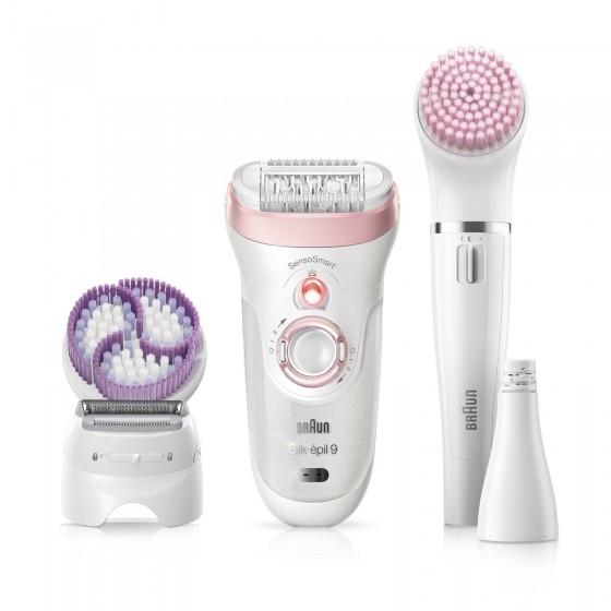 Braun Beauty Set 9 Silk-Épil 9-975 Epilatore Corpo e Viso SensoSmart Wet&Dry con Spazzole Esfolianti e Accessori