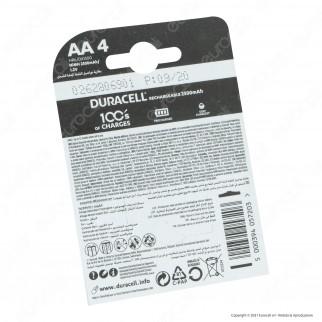 Duracell Rechargeable 2500mAh Pile Ricaricabili Stilo AA - Blister 4 Batterie