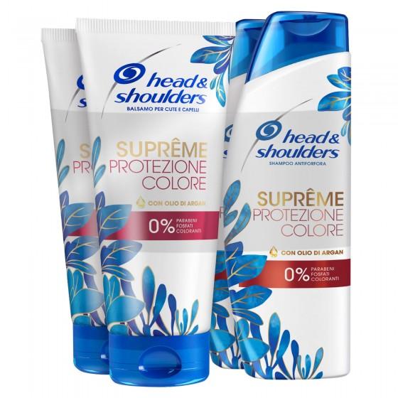 Head & Shoulders Sumprême Protezione Colore Shampoo e Balsamo Antiforfora con Olio d'Argan - Confezione da 4