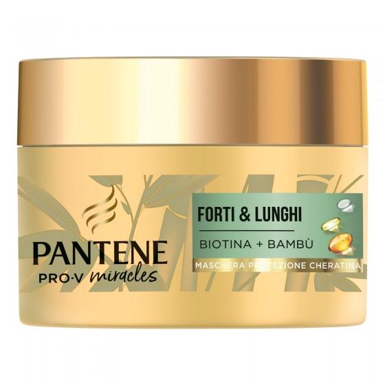 Pantene Pro-V Miracles Forti & Lunghi Maschera Capelli Intensiva con Biotina e Bambù - Barattolo da 160ml