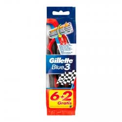 Gillette Rasoio Uomo Blue3 Usa e Getta a 3 Lame con Striscia in Comfortgel - Confezione da 6 + 2 in Omaggio