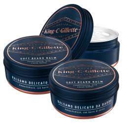 King C Gillette Balsamo Delicato Barba con Olio di Argan e Burro di Cacao - Confezione da 3