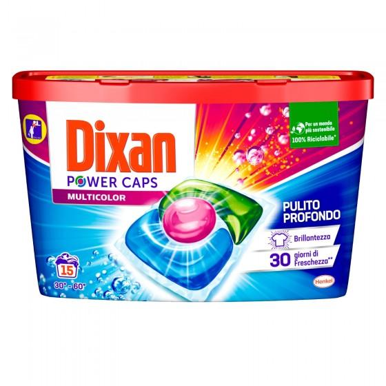 Dixan Power Caps Multicolor Detersivo in Capsule per Lavatrice - Confezione da 15 Capsule