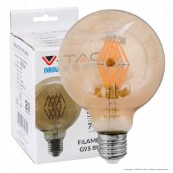 V-Tac VT-2019 Lampadina LED E27 8W Globo G95 Filamento Ambrata - SKU 7145
