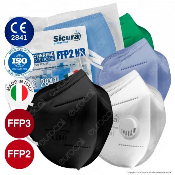 Sicura Protection Mascherina Protettiva Filtrante Monouso con Fattore di Protezione Certificato FFP2 NR in TNT Multistrato
