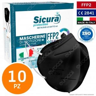 Sicura Protection 10 Mascherine Protettive Colore Nero Monouso con Fattore di Protezione Certificato FFP2 NR in TNT