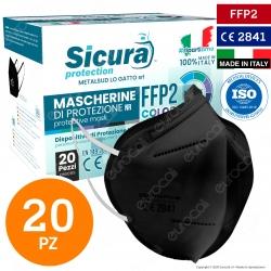 Sicura Protection 20 Mascherine Protettive Colore Nero Monouso con Fattore di Protezione Certificato FFP2 NR in TNT