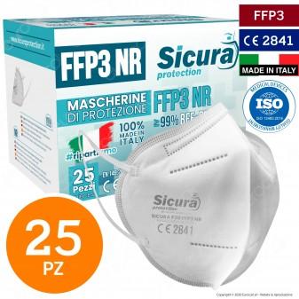 Sicura Protection 25 Mascherine Protettive Filtranti Monouso con Classe Protezione FFP3 in TNT Multistrato