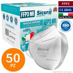 Sicura Protection 50 Mascherine Protettive Filtranti Monouso con Classe Protezione FFP3 in TNT Multistrato