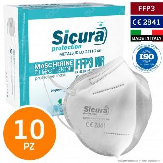 Sicura Protection 10 Mascherine Protettive Filtranti Monouso con Classe Protezione FFP3 in TNT Multistrato