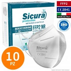 Sicura Protection 10 Mascherine Protettive Filtranti Monouso con Fattore di Protezione Certificato FFP2 NR in TNT Multistrato