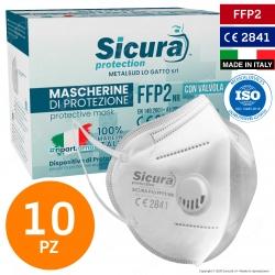 Sicura Protection 10 Mascherine Protettive Filtranti Monouso Protezione Certificata FFP2 con Valvola in TNT Multistrato