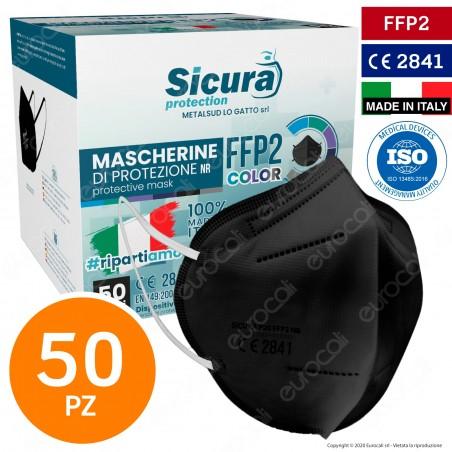 Sicura Protection 50 Mascherine Protettive Colore Nero Monouso con Fattore di Protezione Certificato FFP2 NR in TNT