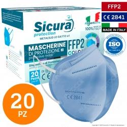 Sicura Protection 20 Mascherine Protettive Colore Azzurro Monouso con Fattore di Protezione Certificato FFP2 NR in TNT