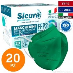 Sicura Protection 20 Mascherine Protettive Colore Verde Monouso con Fattore di Protezione Certificato FFP2 NR in TNT