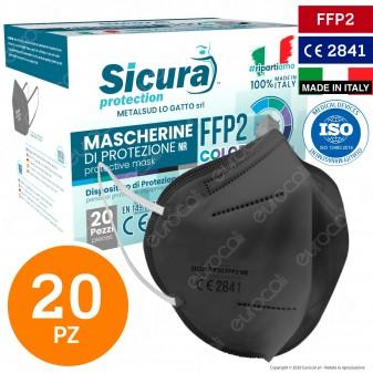 Sicura Protection 20 Mascherine Protettive Colore Grigio Monouso con Fattore di Protezione Certificato FFP2 NR in TNT