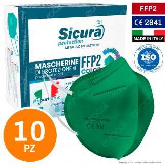 Sicura Protection 10 Mascherine Protettive Colore Verde Monouso con Fattore di Protezione Certificato FFP2 NR in TNT