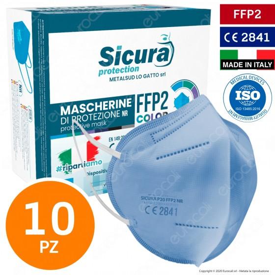 Sicura Protection 10 Mascherine Protettive Colore Azzurro Monouso con Fattore di Protezione Certificato FFP2 NR in TNT