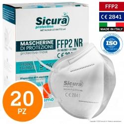 Sicura Protection 20 Mascherine Protettive Filtranti Monouso con Fattore di Protezione Certificato FFP2 NR in TNT Multistrato