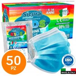 Sicura Protection 50 Mascherine Chirurgiche per Bambini Monouso Filtranti Bimbo Tipo II in TNT 3 Strati