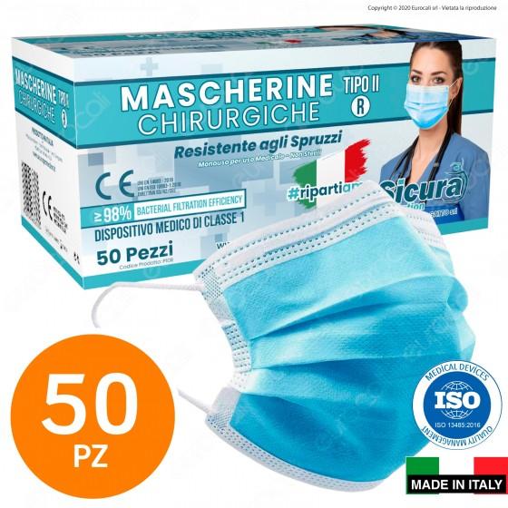 Sicura Protection 50 Mascherine Chirurgiche Monouso Filtranti Tipo II R in TNT Azzurro
