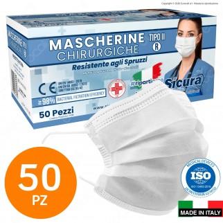 Sicura Protection 50 Mascherine Chirurgiche Monouso Filtranti Tipo II R in TNT Bianco