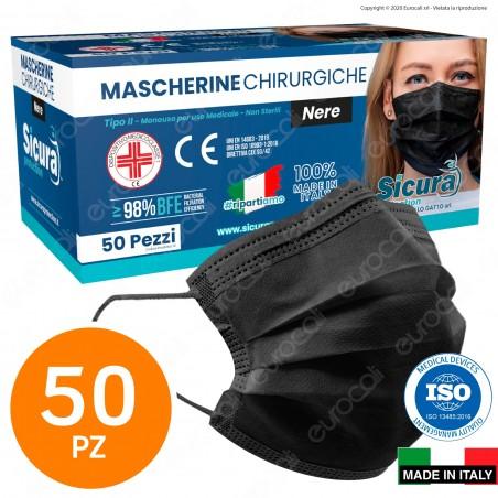 Sicura Protection 50 Mascherine Chirurgiche Monouso Filtranti Tipo II R in TNT Nero