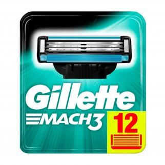 Gillette Mach3 Lamette di Ricambio con 3 Lame per Rasoio Uomo - Confezione da 12 Pezzi