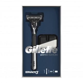 Gillette Mach3 Rasoio Uomo con 3 Lame Edizione Limitata Confezione Regalo Con Base