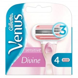Gillette Venus Divine Sensitive Lamette di Ricambio per Rasoio Donna - Confezione da 4 Pezzi