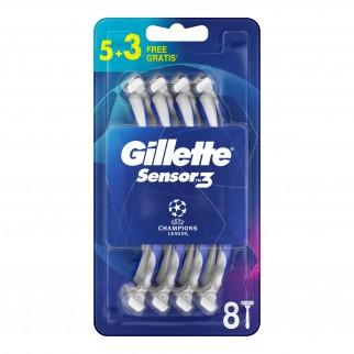 Gillette Rasoio Uomo Sensor3 Comfort Usa e Getta - Confezione da 8 Rasoi