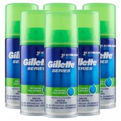Gillette Series Gel da Barba Pelle Sensibile con Aloe - 6 Flaconi Formato Viaggio da 75ml