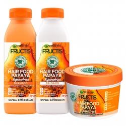 Garnier Fructis Kit Hair Food Papaya Shampoo Balsamo e Maschera - Confezione da 3 Pezzi