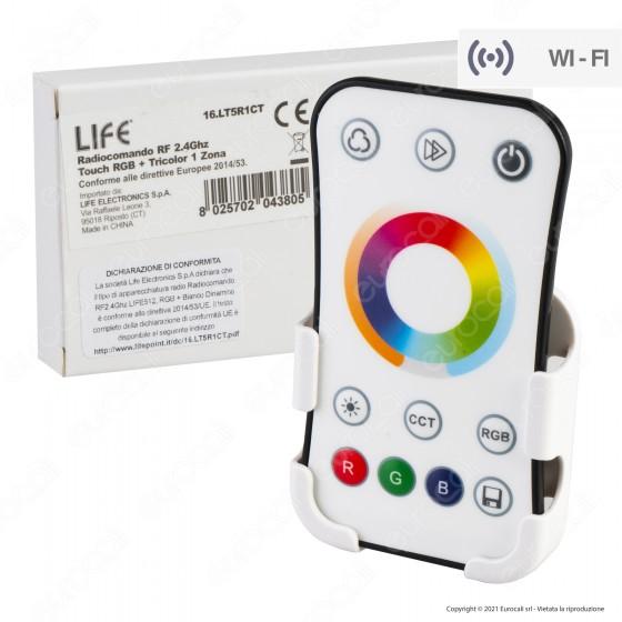Life Radiocomando RF 2.4Ghz Touch Dimmer 1 Zona per Strisce LED RGB+W - mod. 16.LT5R1CT