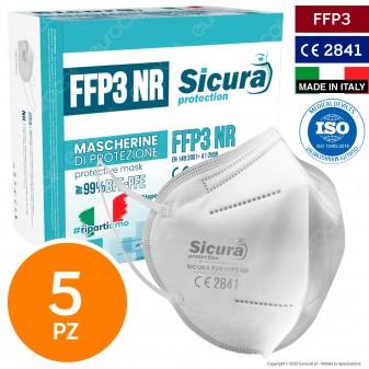 Sicura Protection 5 Mascherine Protettive Filtranti Monouso con Classe Protezione FFP3 in TNT Multistrato