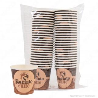 Baciato Caffè 50 Bicchierini in Carta Biodegradabile Compostabile per Bevande Calde e Fredde da 75ml
