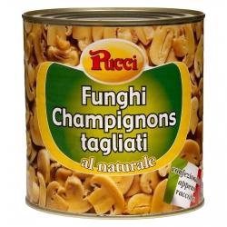 Pucci Funghi Champignon Tagliati al Naturale - Latta da 2,5Kg