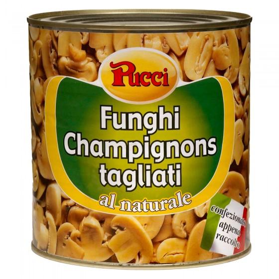 Pucci Funghi Champignon Trifolati al Naturale - Lattina da 2,5Kg