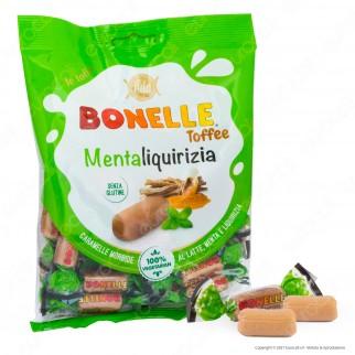 Caramelle Bonelle Toffee Morbide al Latte Menta e Liquirizia Senza Glutine per Vegetariani - Busta da 150g