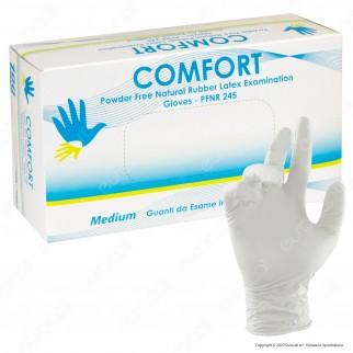 Comfort Guanti Monouso Bianchi in Lattice Senza Talco - Confezione da 100 pezzi