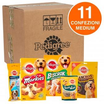 Pedigree Kit Snack e Biscotti Misti per Cani di Taglia Media - Scatola con 11 Confezioni