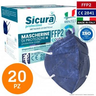 Sicura Protection 20 Mascherine Protettive Colore Blu Monouso con Fattore di Protezione Certificato FFP2 NR in TNT