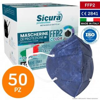 Sicura Protection 50 Mascherine Protettive Colore Blu Monouso con Fattore di Protezione Certificato FFP2 NR in TNT