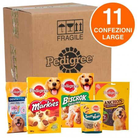 Pedigree Kit Snack e Biscotti Misti per Cani di Taglia Grande - Scatola con 11 Confezioni